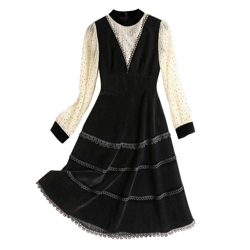 Manches longues robe femmes 2020 printemps nouvelle mode Patchwork mince taille bureau dame une ligne genou longueur robe femme S XL - 4