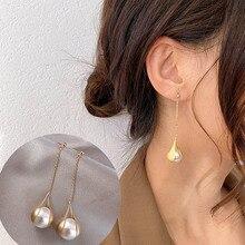 CHIMERA Elegant Pearl Long Drop Earring for Women Jewelry Rhinestone Dangle Tassel Pendant Korean Earrings Gift