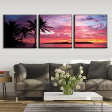 Wall Art Poster 3Panel Colorful Clouds Mountains Lake Landscape Canvas Painting Home Decor Living Room Wall Art Modular COLOMAC(China)
