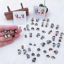 EUPNHY 1 Pair Cute Dogs Peanuts Hypoallergenic Earrings Cartoon Piercing Stud Earrings for Women Girls Small Earring Jewelry