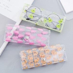 Image 3 - 1 sztuk Cartoon śliczny samochód akcesoria przezroczyste pcv oko pudełko na okulary torba Case pudełko ochronne okulary akcesoria dla dorosłych dzieci