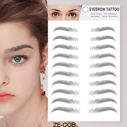 Eyes Tattoo Cosmetic False Eyebrows 4D Hair-like Eyebrow Tattoo Sticker Waterproof Lasting Makeup Face Temporary Tattoo Stickers