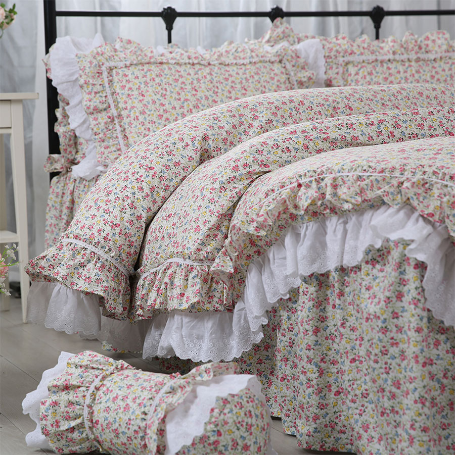 Pastoral floral bedding set, twin full queen king cotton classic single double home textile bedspread pillow case quilt cover