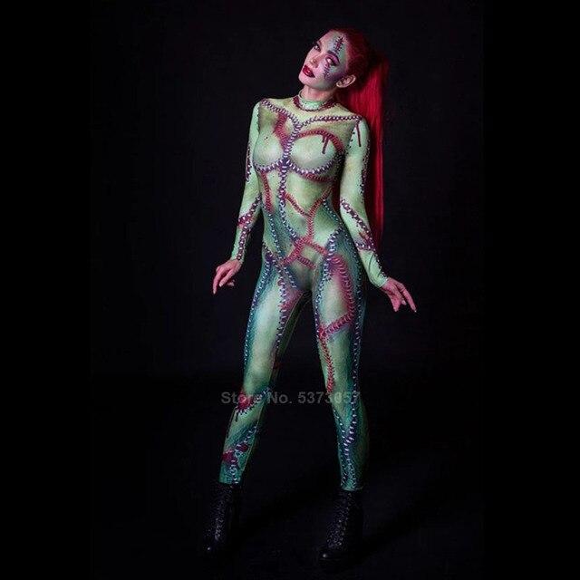 Carnaval Femmes 3d Squelette Zombie Jumpsuit Overall Cosplay Fête Mardi Gras Déguisement