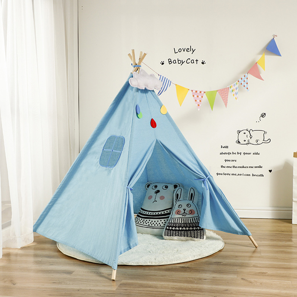 1.35m Large Teepee Children's Tent Cotton Canvas Kids Tent Children House Wigwam Game House India Triangle Tent Room Decoration