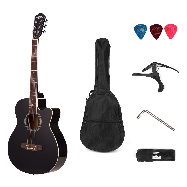 40 pouces tilleul guitare Folk guitare acoustique avec sangle Gig Bag Capo pics 6 cordes guitare accessoires Guitarra