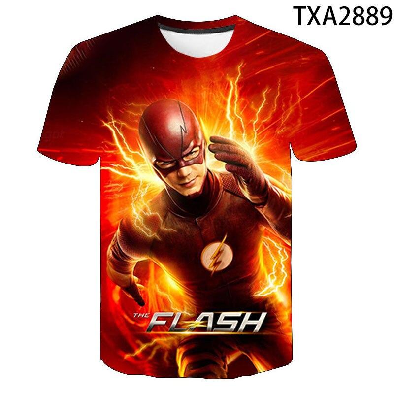 New Superhero The Flash Short Sleeve 3D Printed T Shirt Summer Fashion Streetwear T-shirt Cool Tops Super Hero Boy Girl Kids Tee