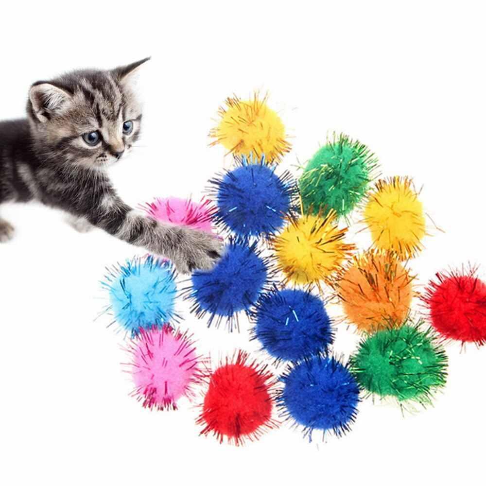 1 قطعة الحيوانات الأليفة القط لعبة القطط الملونة أفخم الكرة لعبة Puppy القطط التفاعلية اللعب مضغ لعبة الكرة لتدريب الحيوانات الأليفة القط