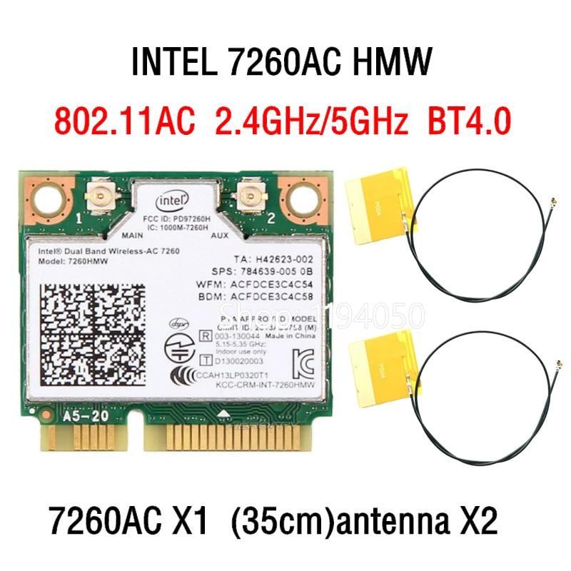 Wireless card Dual band Wireless  Intel AC7260 7260HMW intel 7260AC  867Mbps Half Mini PCI-E 802 11ac 2x2 Wifi Bluetooth4 0