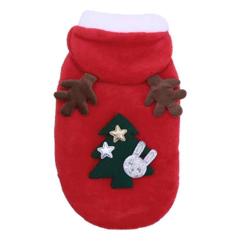 フリース犬服犬のコートクリスマス素敵なペット子犬ヘラジカフード付き暖かいコートペットの猫の服ジャケットコートペット衣装