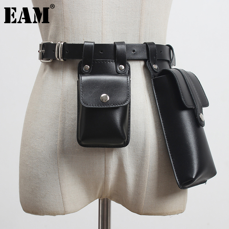 [EAM]  Pu Leather Black Mini-bag Irregular Long  Belt Personality Women New Fashion Tide All-match Spring Autumn 2021 1DA525
