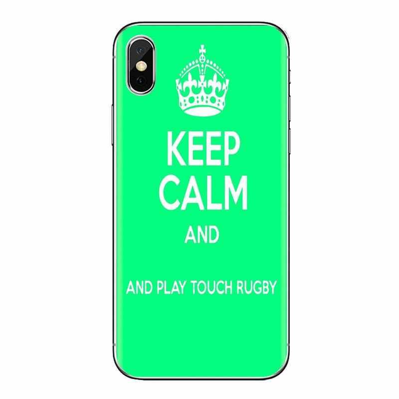 Mantener la calma y jugar Rugby para Huawei G7 G8 P7 P8 P9 P10 P20 P30 Lite Mini Pro P Smart más de 2017 de 2018 transparente 2019 TPU carcasa