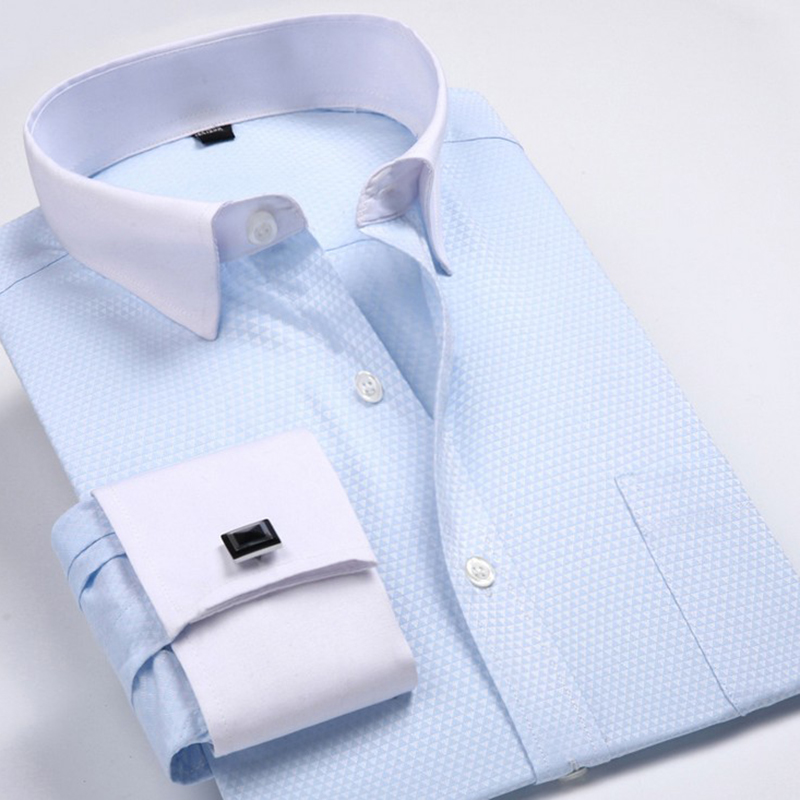 Men's Dress Shirts Loose French Cuff Regular fit Luxury Striped Business Long Sleeve Cufflinks Social Pluse Size Men Shirt 6XL 17