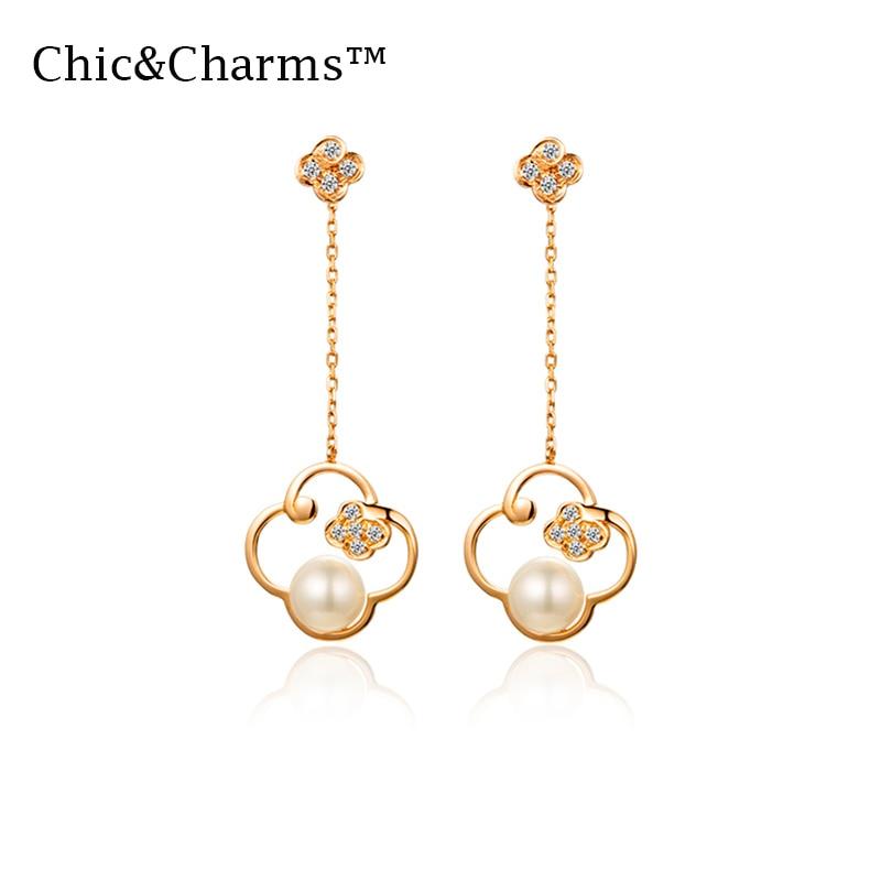 Genuine Chic&Charms 9K&14K Real Rose Gold Natural Pear earrings for women drop earrings drop earrings fashion jewelry 2019