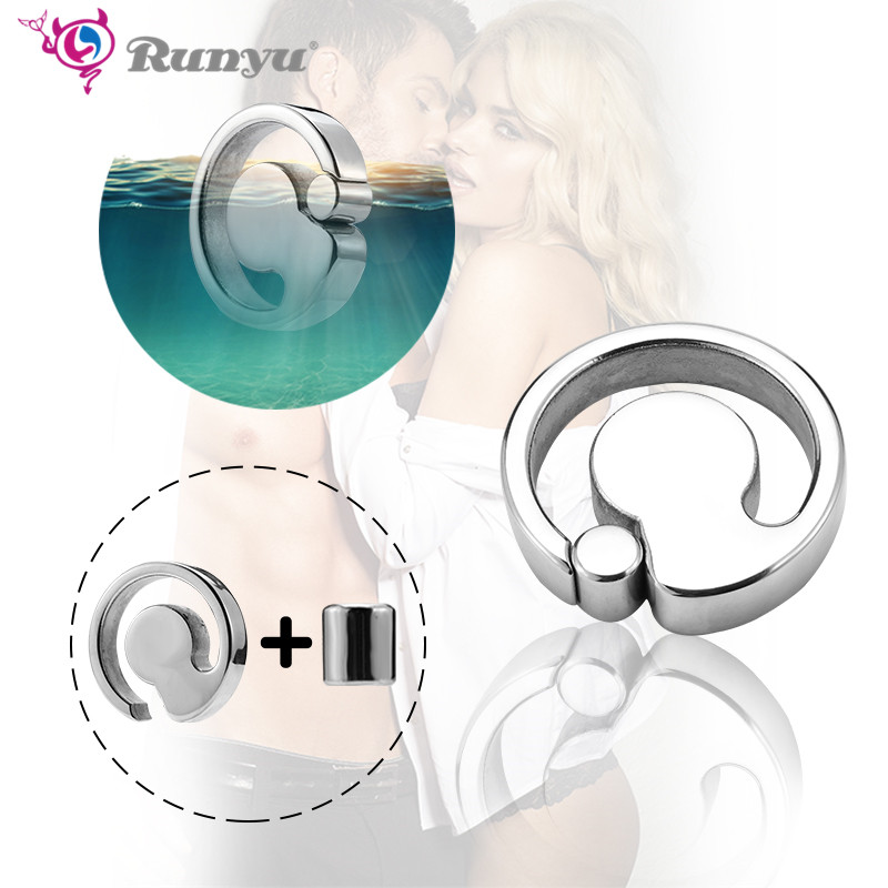 Cock Ring Heavy Duty male Magnetic Ball Scrotum Stretcher metal penis cock lock Ring Delay ejaculation BDSM Sex Toy men image