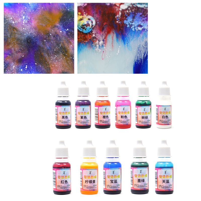 11 Pcs/set Epoxy Pigment Color Fine Manual DIY Crafts Jewelry Making Dyeing Resin Colorant Blooming Fluid Painting 3D Rendering
