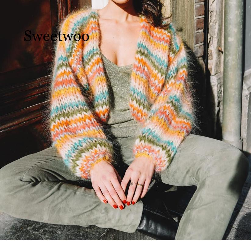 Long Sleeve Striped Women Sweater Plus Size Striped knitted Ladies Sweaters Cardigans 2020 winter Female clothing