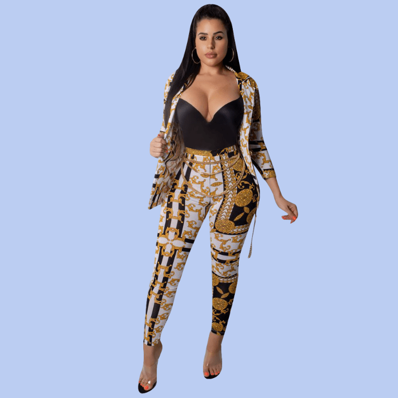 Sexy Print V-neck 2 Piece Set Autumn Women Long Sleeve Cardigan Top + Pants Outfits Tight Fashion Vintage Streetwear