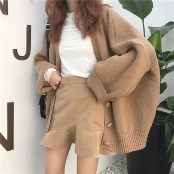 cardigan passioni cardigan Sweater Women Autumn Winter Oversized Cardigan V Neck Coreen Style Femme Retro Knitted Cardigan Button-Down Cardigan Crop Top