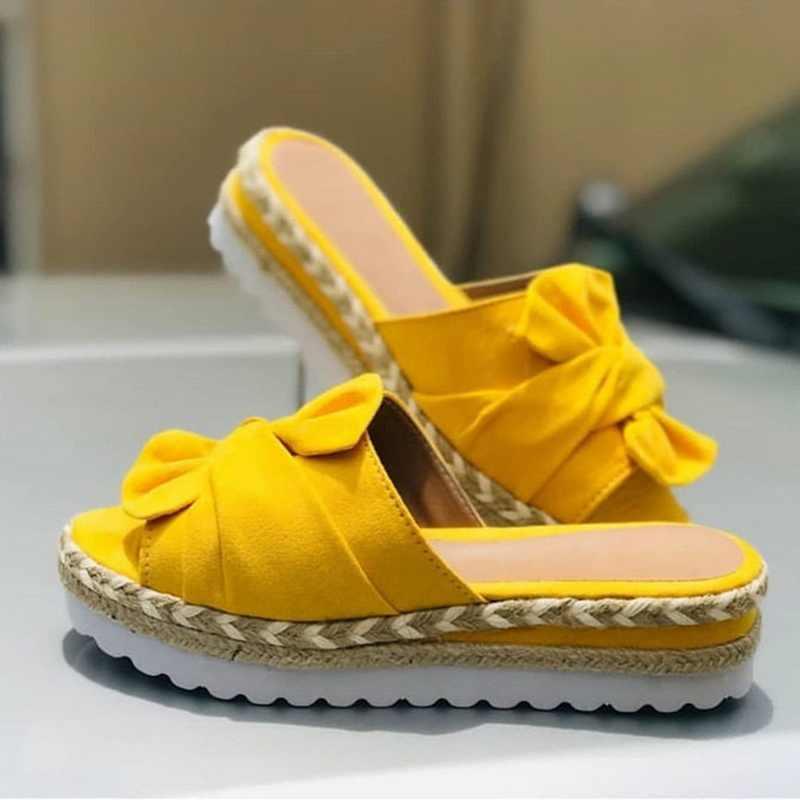 Phụ Nữ Có Nơ Dép Mùa Hè 2020 Giày Đi Biển Muffin Trơn Trượt Trên Nền Tảng Giày Sandal Nữ ĐầM Đảng Peep Toe Giày Xăng