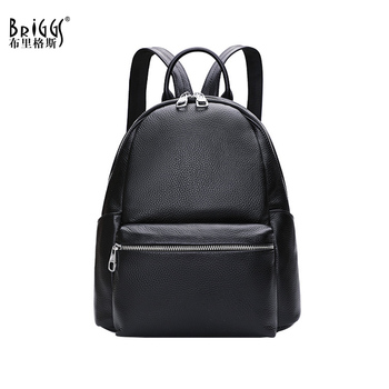 BRIGGS Fashion Black Women Backpack Genuine Leather Knapsack Casual Travel Bag Preppy Style Girl's Schoolbag High Quality Bags popular rock style natural sheepskin women backpack fashion rivets women s travel bags casual patchwork genuine leather bag
