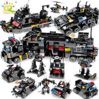 HUIQIBAO jouets 695 pièces 8in1 camion de commandement militaire SWAT blocs de construction pour enfants