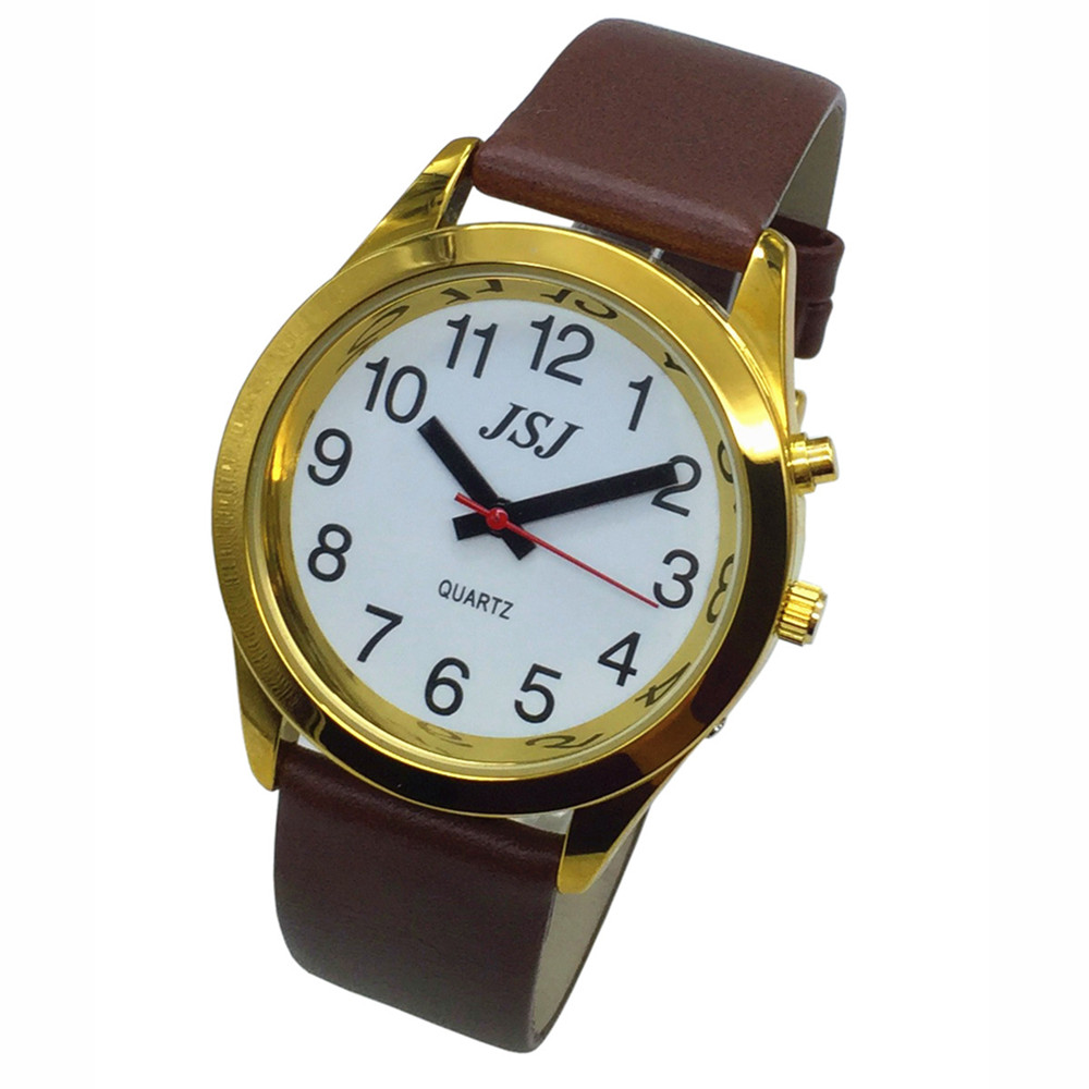 French Talking Watch With Alarm Function, Talking Date And Time, White Dial, Brown Leather Band, Golden Case TAF-706