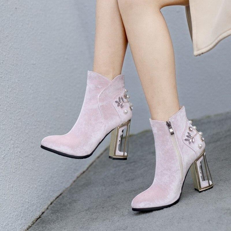 US4 11 Womens Fluwelen Leer Ronde Neus Bloemen Vogelkooi Hakken Rhinestones Crystal Parels Ankel Laarzen Schoenen 3 Kleuren Plus Size - 4