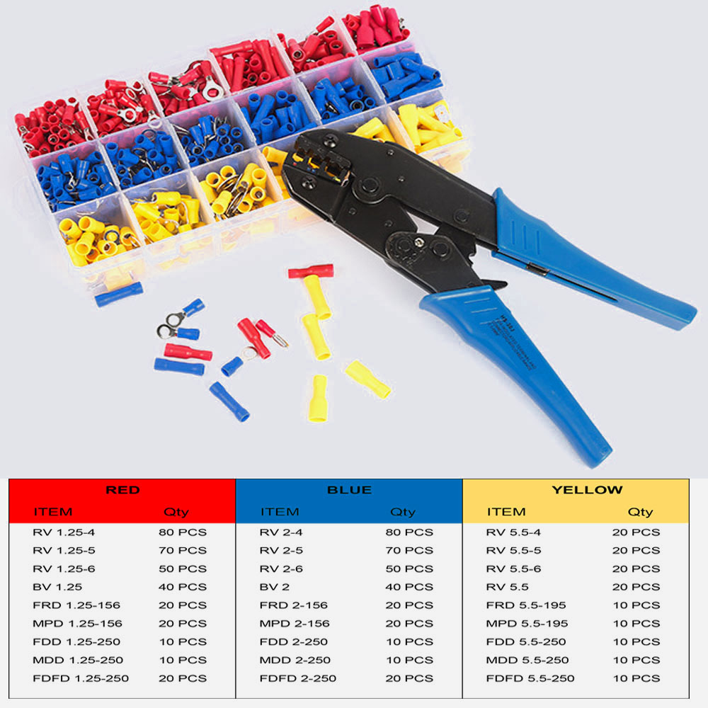 Cable Terminals Set Multi-Component Sleeves with 700 Pieces Electrical Connectors Crimp Connector Assortment Crimping Pliers image