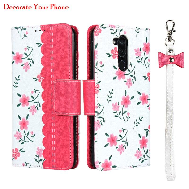 Flor elegante caso carteira de couro para lg style2 L-01L 360 proteção fivela magnética flip capa para lg estilo 2 L-01L rosa
