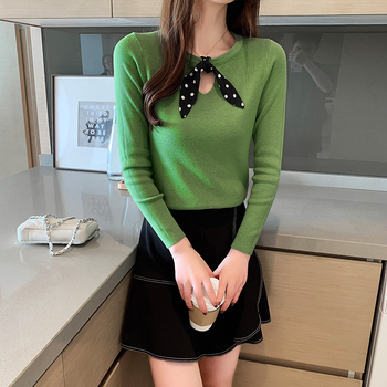 Ailegogo New Spring Women Knitted Sweater Casual Female Butterfly Collar Slim Fit Pullovers Solid Color Korean Style Knitwear 2