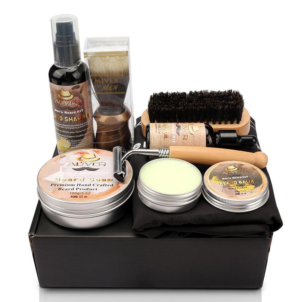 Men Beard Kit Styling Tool Beard Essence Oil Comb Brush With Apron Cloth Moustache Balm Moisturizing Wax Styling Beard Care Set 3