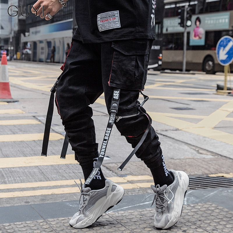 Letter Ribbons Hip Hop Joggers Cargo Pants For Men Block Hit Color Pocket Track Pants Male Casual Trousers Sweatpants Streetwear