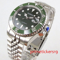 Green ceramic bezel automatic movement 40mm PARNSI black dial date sapphire glass luminous mens watch