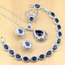 הפרזה כחול אבן לבן CZ 925 כסף תכשיטי סטים לנשים המפלגה Drop עגילי תליון טבעות צמיד שרשרת סט