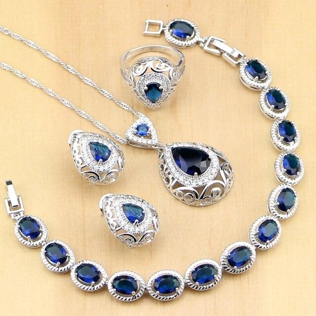 Hyperbole Blue Stone White CZ 925 Silver Jewelry Sets For Women Party Drop Earrings Pendant Rings Bracelet Necklace Set
