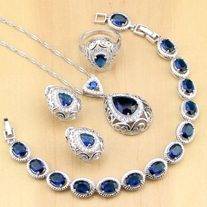 Image 1 - 誇張ブルー石ホワイトcz 925 シルバージュエリーセット女性パーティードロップピアスペンダントリングブレスレットネックレスセット