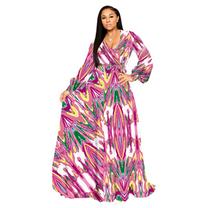 Image 3 - S 5XL Plus Size African Dresses For Women Robe Loose Dress Dashiki Floral Print Lady Africa Clothing Gown For Women
