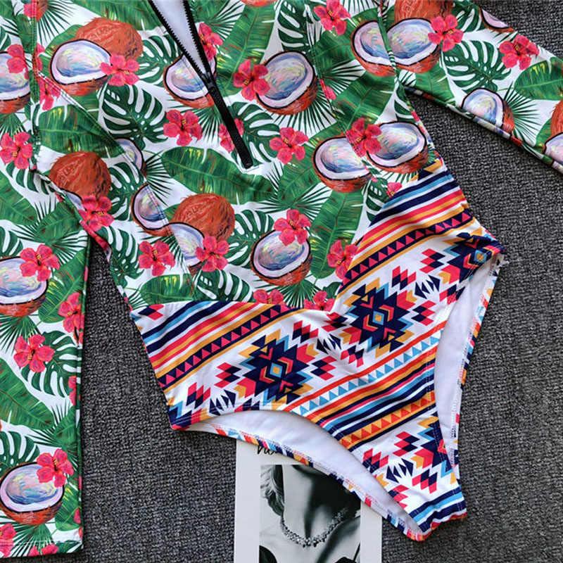 Vigorashely 2018 Lengan Panjang Ruam Penjaga Wanita Surf Baju Renang Floral One Piece Baju Renang Diving Renang Kemeja Penjaga Ruam Pakaian Selam