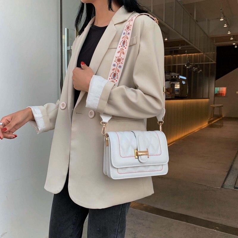 2019 Rhombus Women Shoulder Bag Canvas Strap Leather Totes Female Evening Bag Elegant Korean Fashion Buckle Handbag Gift Purse