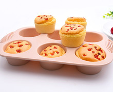 Mini Muffin 6 Holes Silicone Round Mold DIY Cupcake Cookies Fondant Baking Pan Non-Stick Pudding Steamed Cake Mold Baking Tool