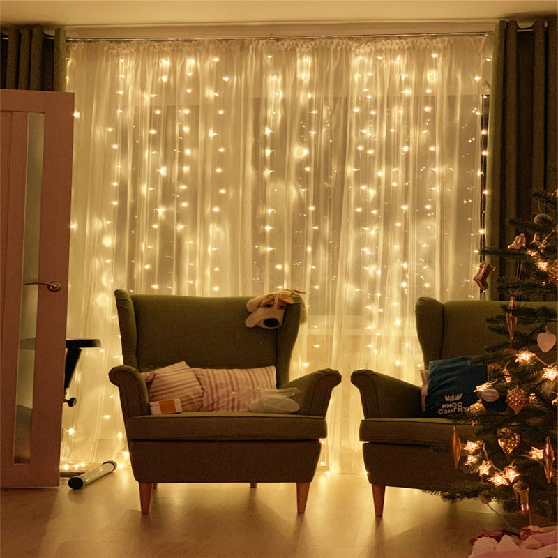 3/6M Curtain LED String Light Fairy Icicle LED Christmas Garland Wedding Party Home Window Garden String Light Decorative Lights