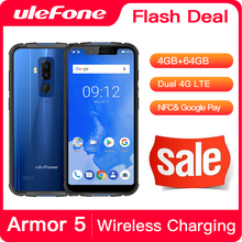 "Ulefone鎧5防水IP68 nfc 5.85 ""hd + 携帯電話MT6763 otcaコアのandroid 8.1 4ギガバイト + 64ギガバイトワイヤレス充電顔id 5000mah"