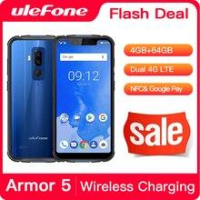 "Ulefone Armor 5 étanche IP68 NFC 5.85 ""HD + téléphone portable MT6763 otca core Android 8.1 4GB + 64GB sans fil Charge Face ID 5000mAh"