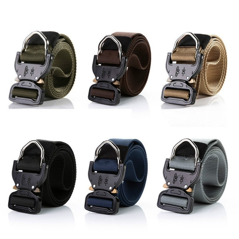 Nylon Tactical Belt For Trousers Metal Buckle Canvas Belts Outdoor Training Belt