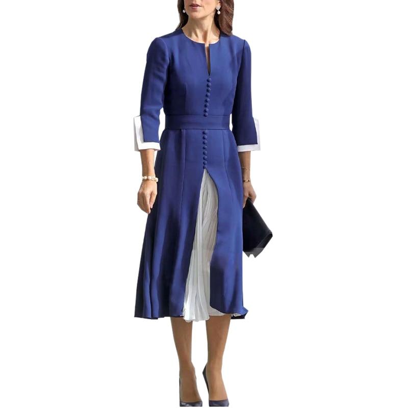 Damen Mode V-Hals Baumwolle Kurzarm Tasten Hohe Taille Lose Langes Hemd Kleid