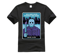 Horror movie game over retro portrait Jason Voorhees T shirt men hockey mask slasher Tee Halloween Friday the 13th pixel T-shirt