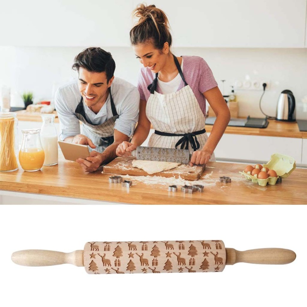 Textured Non-Stick Designs Wooden Embossed Rolling Pin for Cookies/Biscuit/Fondant Cake 7