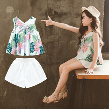 Clothes For Girls Sets Kids Fashion Printed Top + Shorts Two Piece Set Children Summer Suit Girls Outfits 8 9 10 12 14 Years shein apricot appliques button top and shorts elegant girls clothing two piece set 2019 spring fashion vintage children clothes