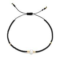 ZMZY Dünne Natürliche Perle Armband Miyuki Perlen Handgemachte Schwarz Glas Stein Armbänder Für Frauen Boho Einstellbare Seil Dame Schmuck